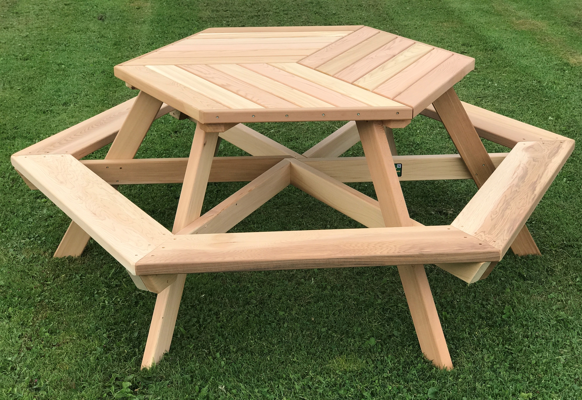 Six-Person Hexagonal Cedar Picnic Table w/ Parquet-Style Top