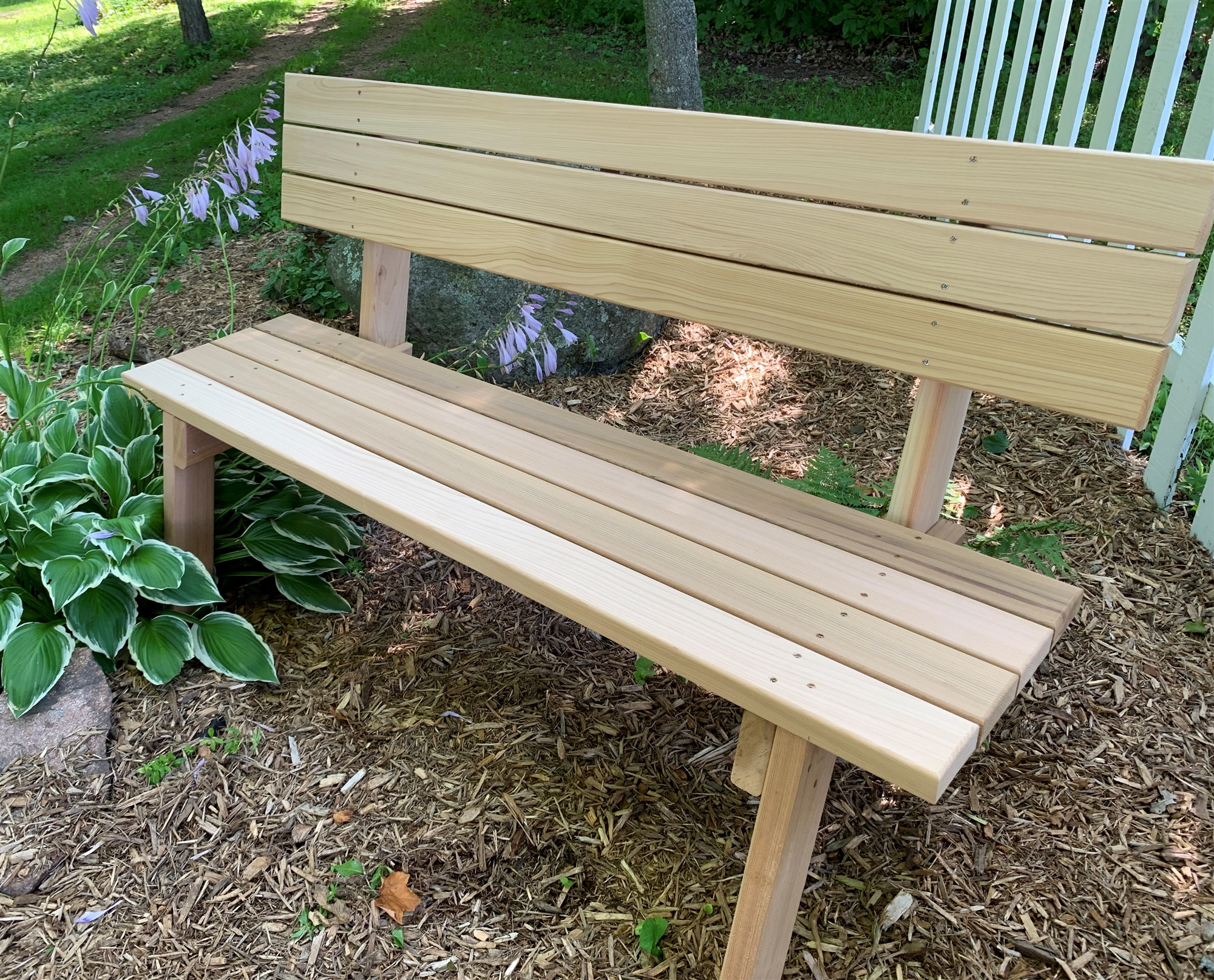 Handcrafted traditional wooden park bench 60 red cedar for Cedar park furniture