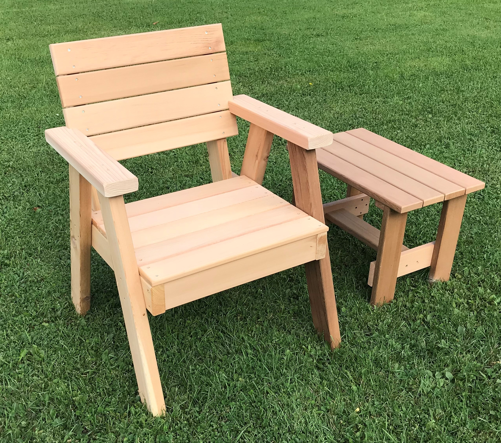 Horizontal Cedar Slats Chair w Arm Rests Hillsfield Collection