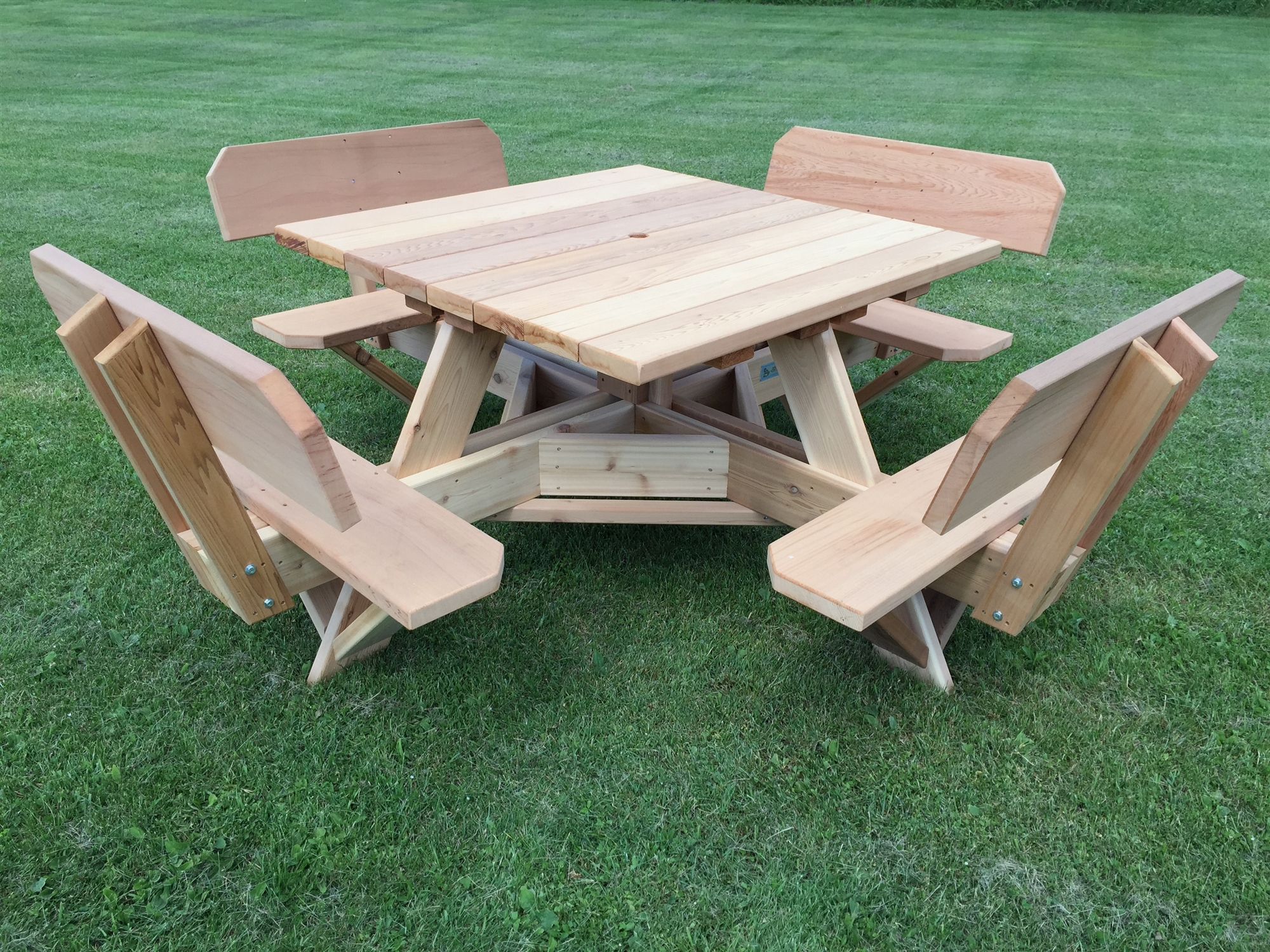 square patio table with umbrella hole 45 picnic table with easy seating. Black Bedroom Furniture Sets. Home Design Ideas