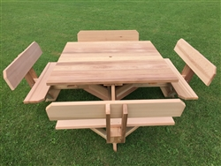 "Square Picnic Table 45"" Top with Backs on the Seats"