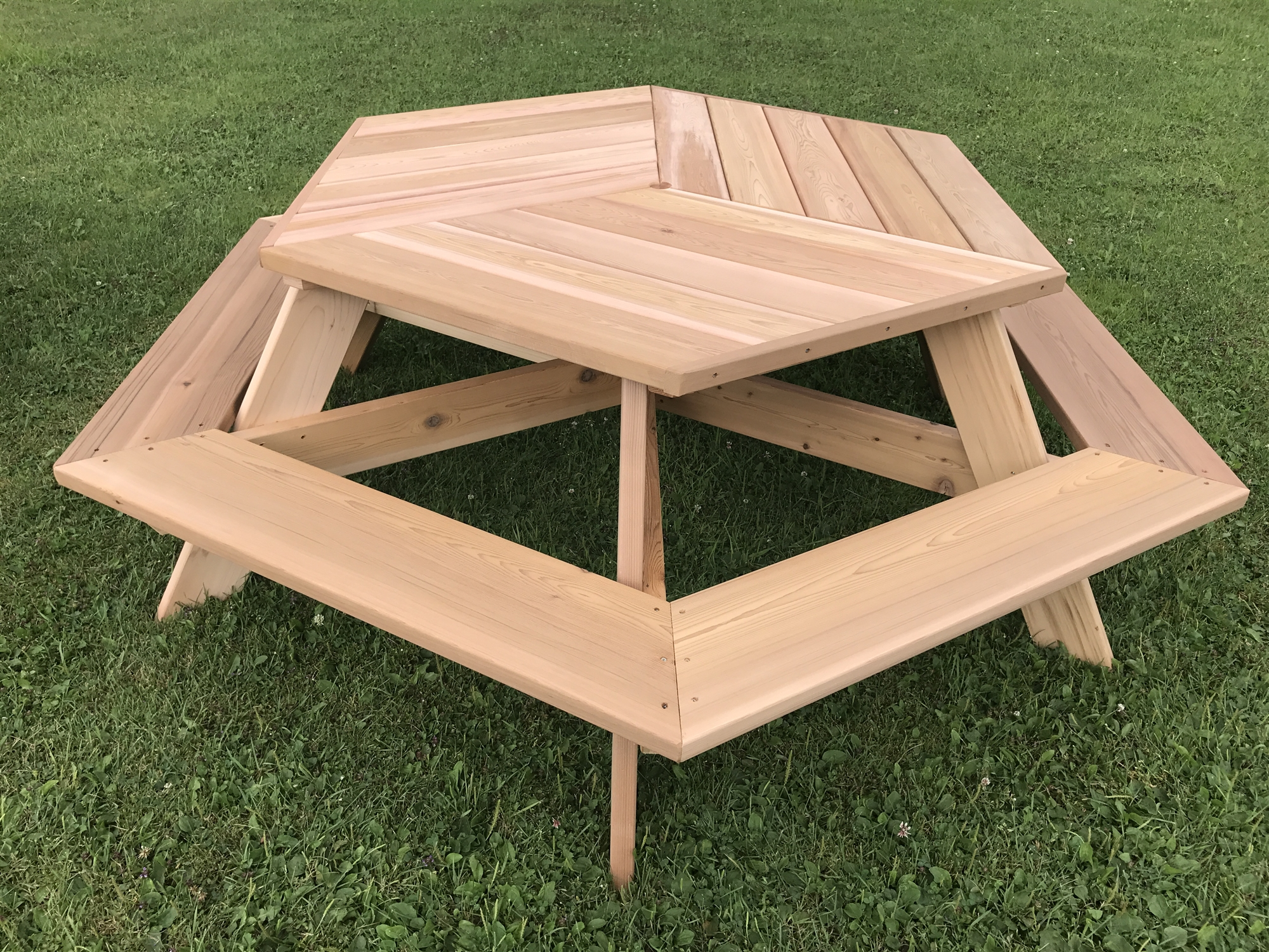 Hexagonal Cedar Picnic Table W AllAround Seating - How to stain a picnic table