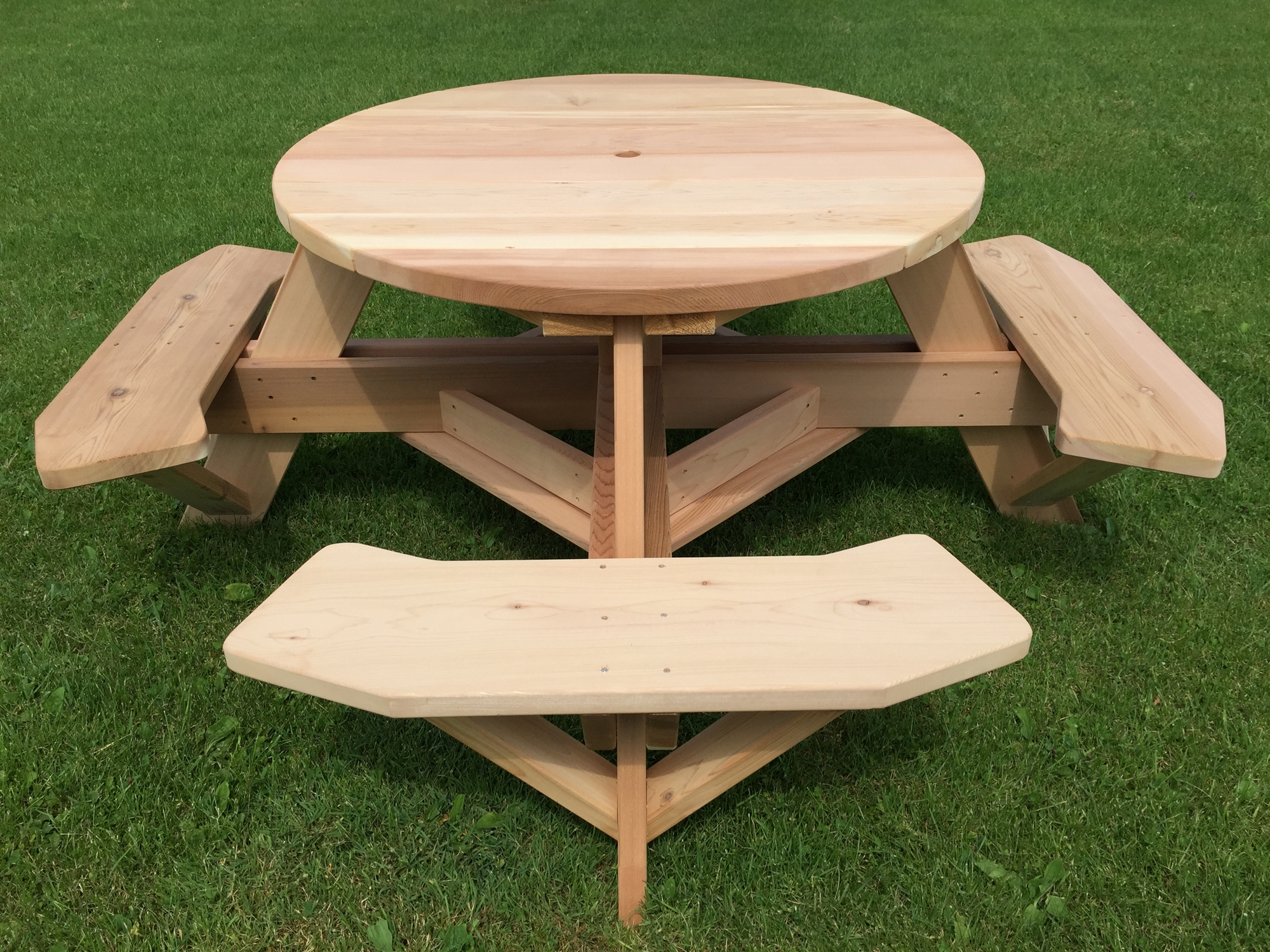 45 Inch Round Wooden Picnic Table With Benches