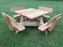 Easy Seating 45 inch square wooden picnic table with seat backs