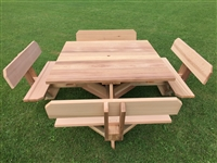 "Square Picnic Table 56"" Top with Backs on the Seats"