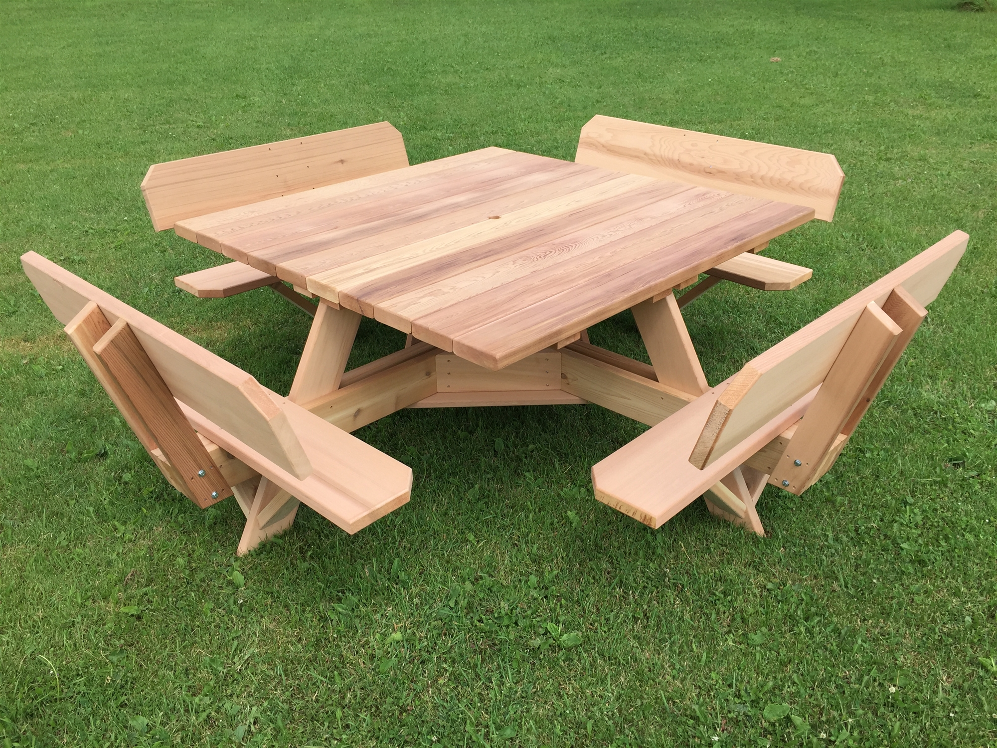 Western Red Cedar Picnic Table With Attached Backs - Square picnic table with benches