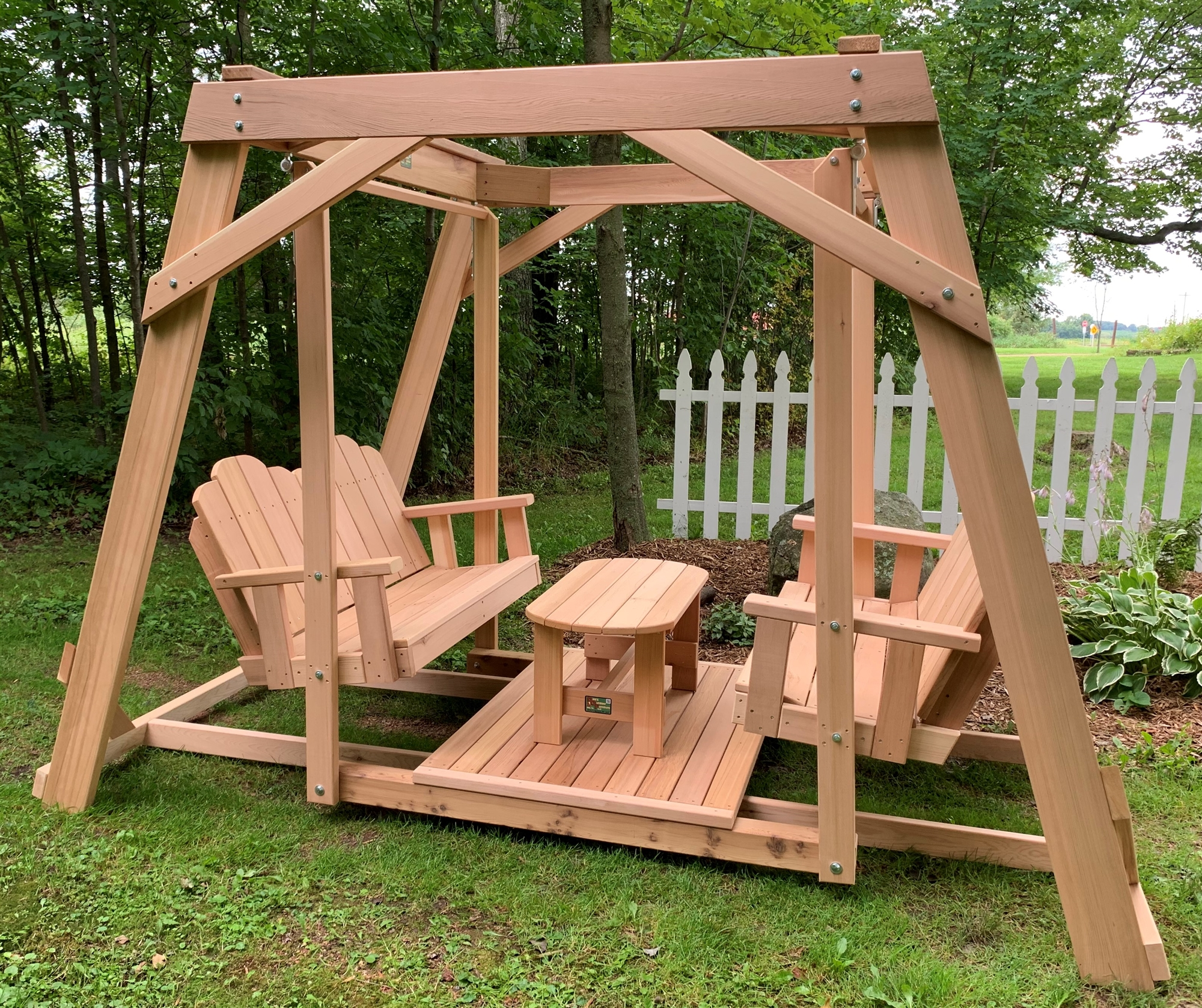 Framed four seat cedar swing w center platform table for Log swing plans