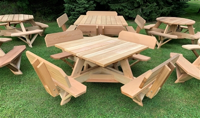 Free Shipping On ALL Beautiful Western Red Cedar Picnic Tables   Octagon    Hexagon   Round   Square   Rectangular   Oval