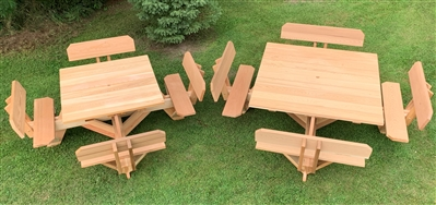 Square Picnic Tables With Benches Person Patio Table Sets - Square picnic table with benches