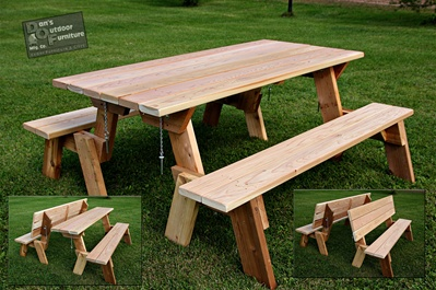 Two In One Cedar Picnic Table Multi Use Picnic Table Amp Bench